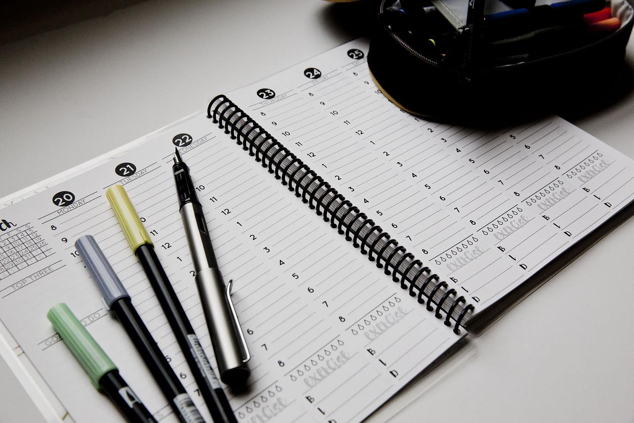 En kalender över veckodagarna
