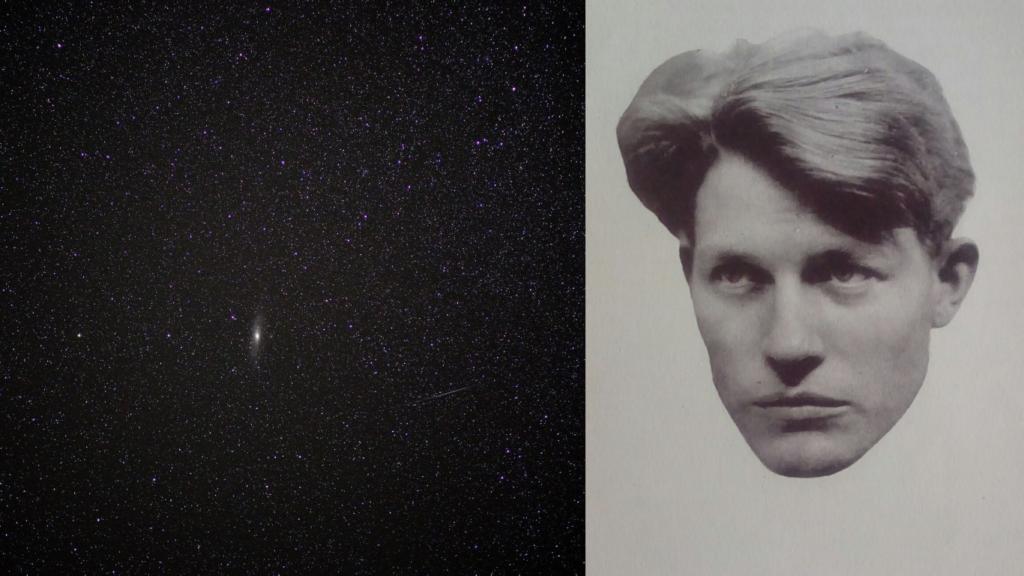 Collage på stjärnor och Harry Martinson.