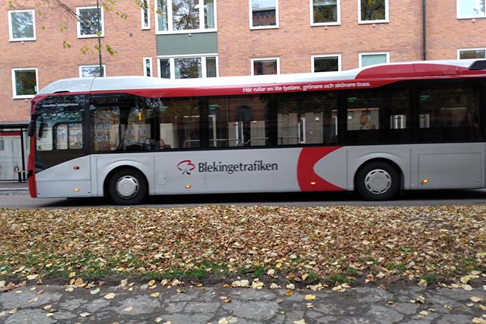 Foto på en buss från Blekingetrafiken.