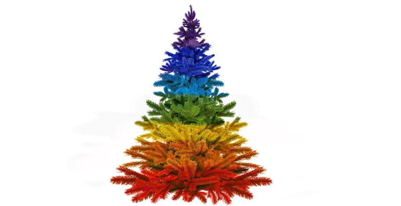 En färgglad julgran.