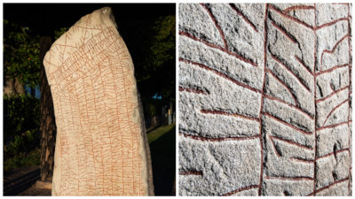Collage på runstenen som heter Rökstenen