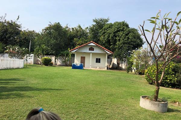 En grön gräsmatta med ett hus på.