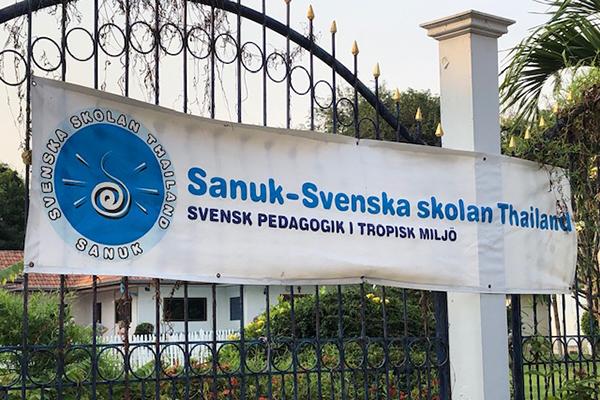 Grinden till svenska skolan i Thailand.