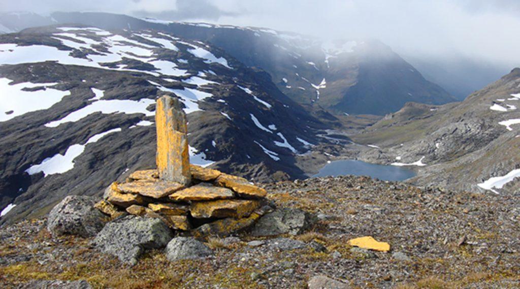 Gränsmarkering vid riksgränsen mellan Sverige och Norge.