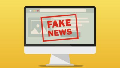 """Illustration av en datorskärm. På skärmen syns texten """"Fake News"""" med röda bokstäver."""