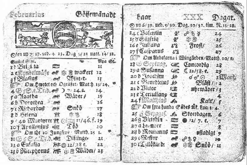 En kalender från 1712