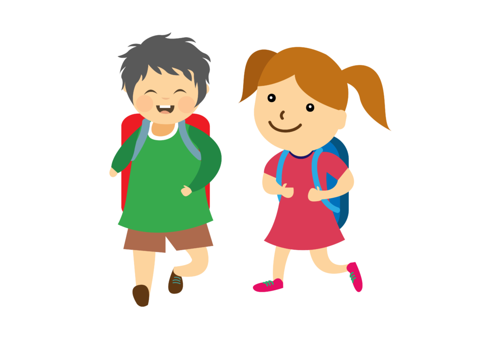 Barn med skolväskor