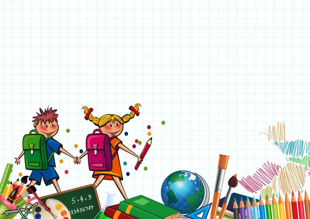 Två elever med ryggsäckar