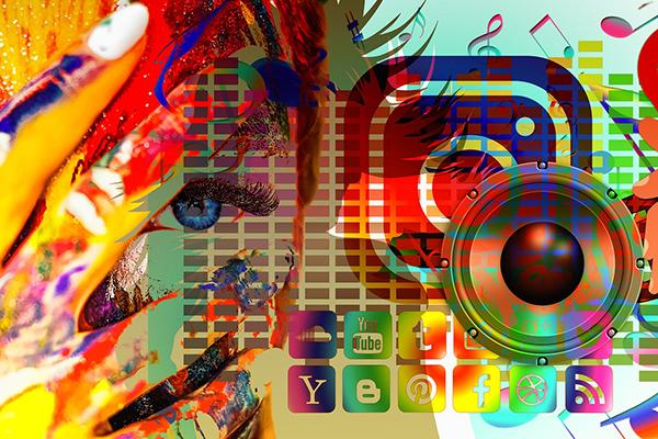 en färgglad bild där loggor från flera olika sociala medier syns.
