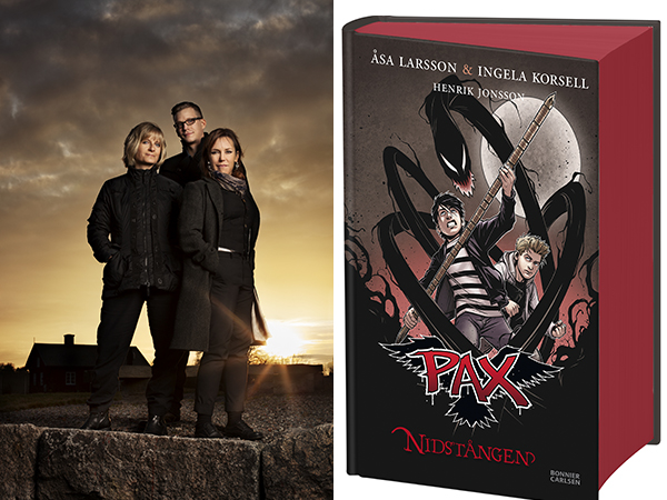 Foto på författarna samt en bild på omslaget till Nidstången.