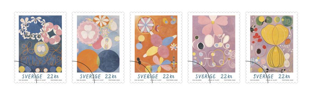 Hilma af Klints konstverk som frimärken.