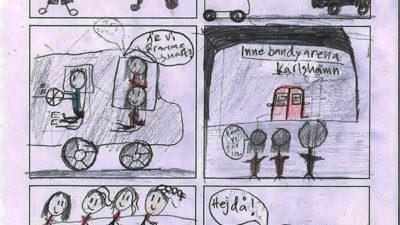 En ritad serie med sex bilder.