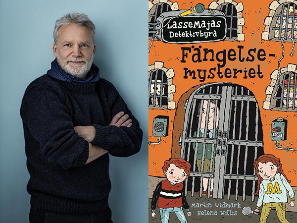 Martin Widmark samt omslaget till boken Fängelsemysteriet.