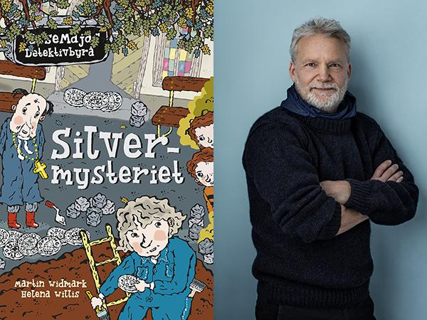 Martin Widmark och omslaget till boken Silvermysteriet.