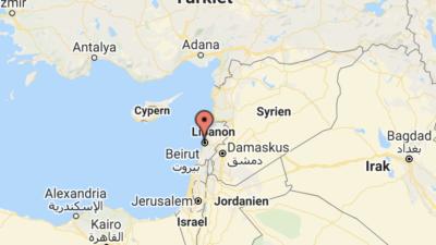Karta över Libanon