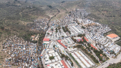 Flyktinglägret Moria innan branden