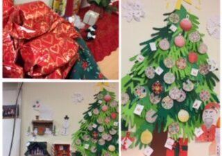 Julpynt i klassrummet
