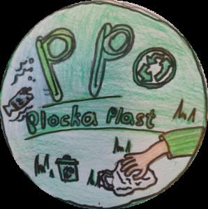 Grön knapp med Slogan plocka plast