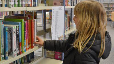 En tjej på ett bibliotek