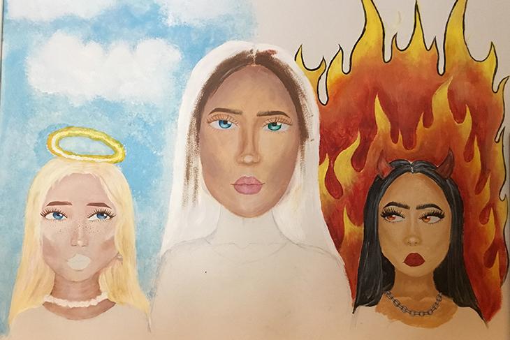 Ett foto på ett konstverk föreställande tre kvinnor.