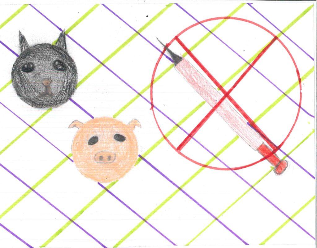 Tyras teckning på en gris och katt och en överkryssad spruta.
