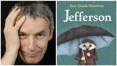 Författaren Jean-Claude Mourlevat och hans bok Jefferson.
