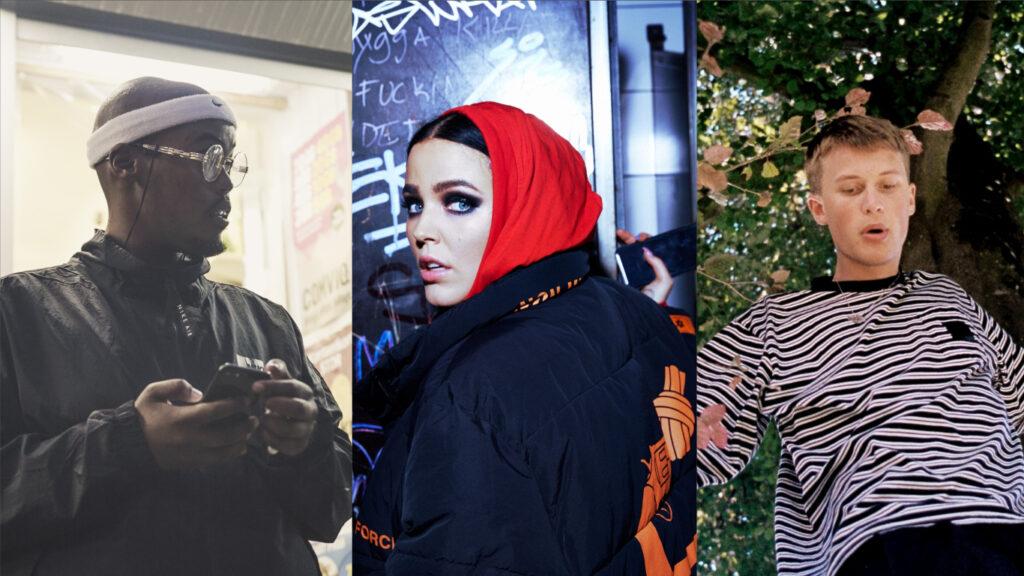 Ett collage med artisterna Guleed, Miriam Bryant och Victor Leksell