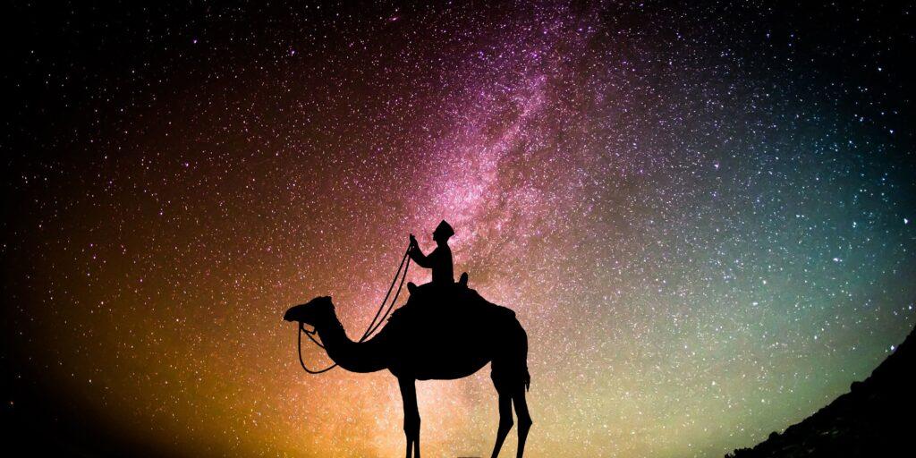 En person rider på en kamel