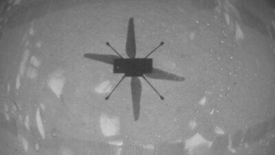 Ett foto taget av rymdhelikoptern