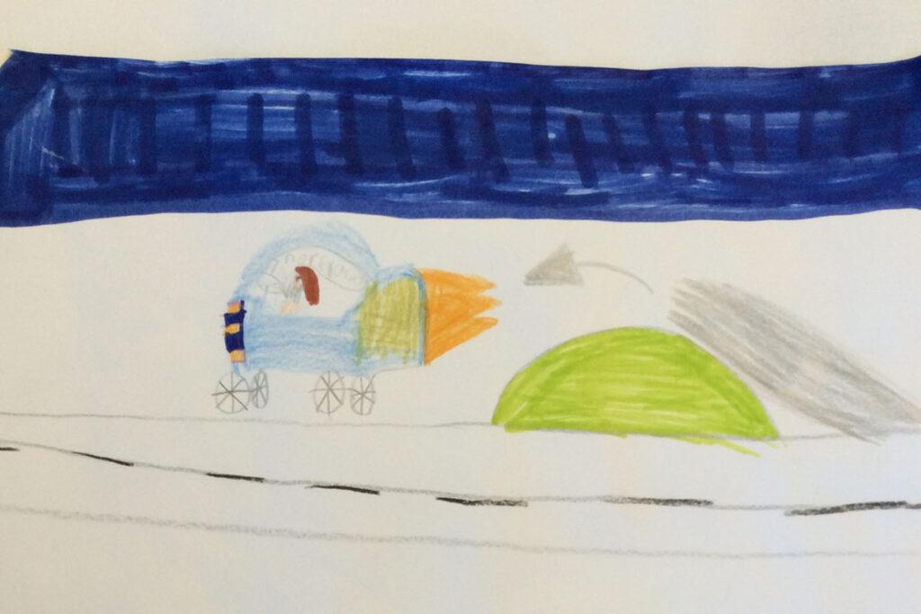 Teckning av en eldsprutande och flygande bil.