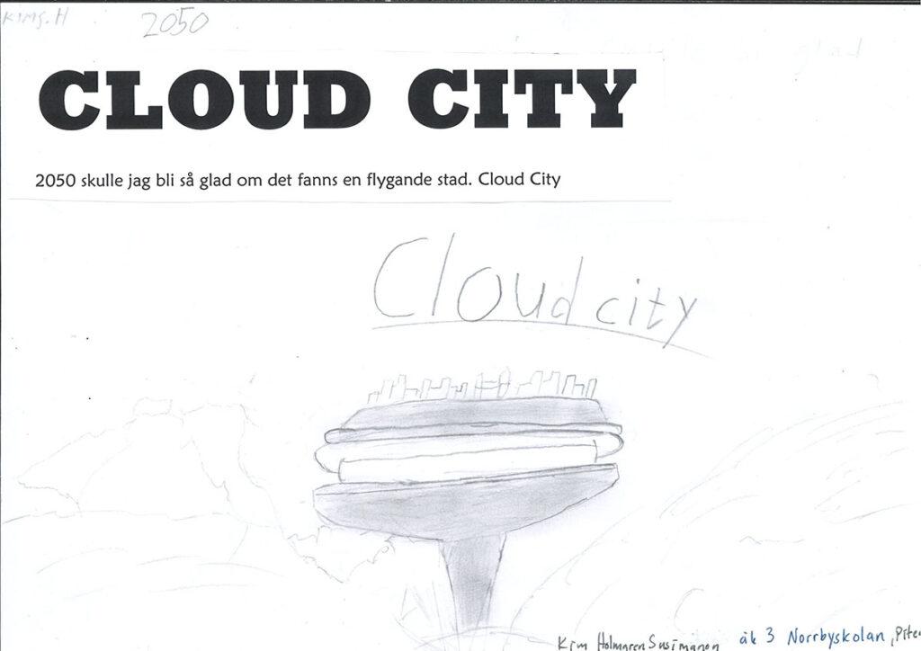 En teckning av en molnstad.