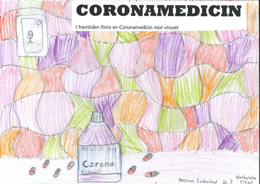 En teckning av en flaska med coronamedicin.