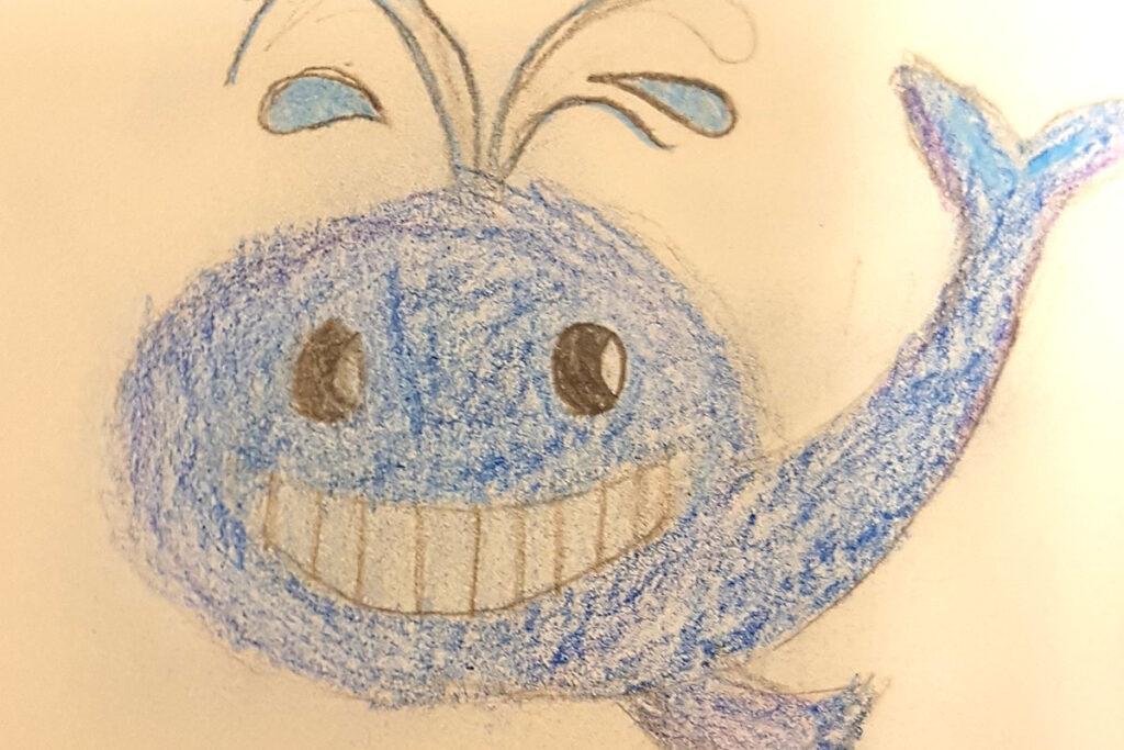 En teckning av en blå, glad val.