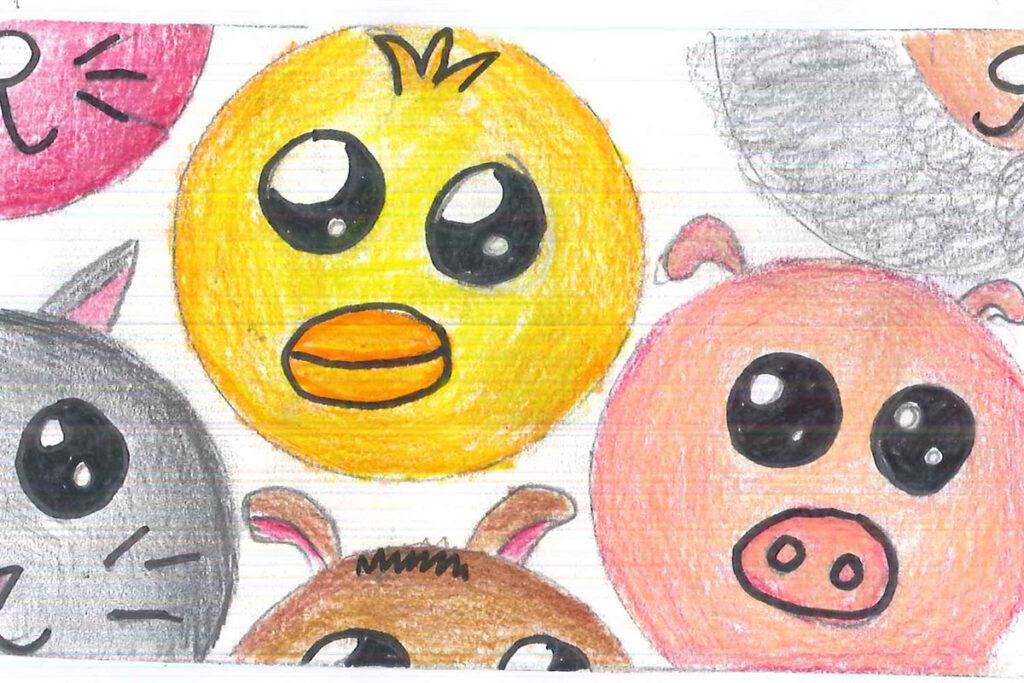 Lillys färgglada teckning på djur.