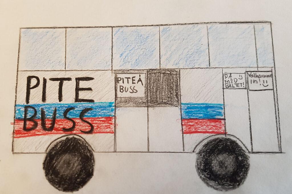 Teckning på en buss. På bussen så står det Pite buss.