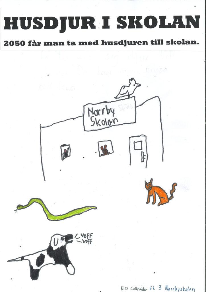 Teckning föreställande en skola och husdjur.