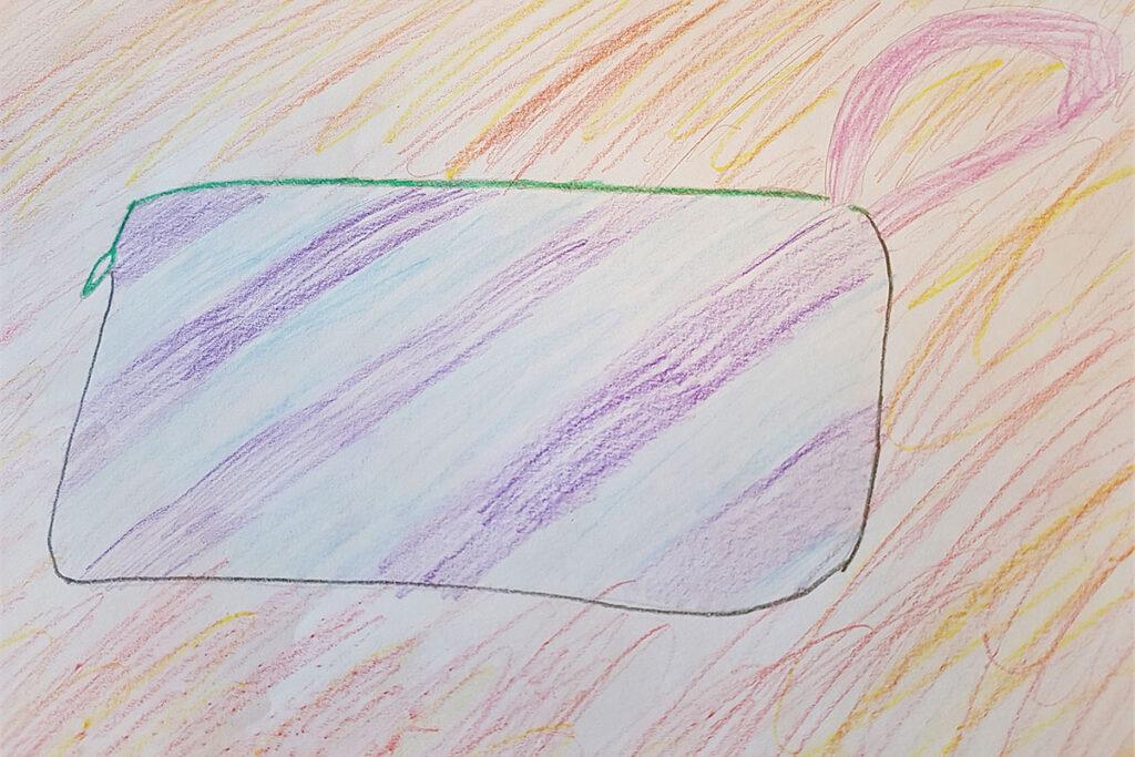 Teckning föreställande en plånbok.