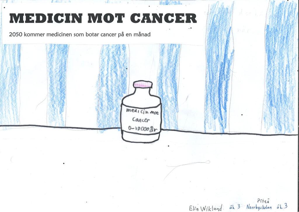 Teckning av en flaska med medicin i.