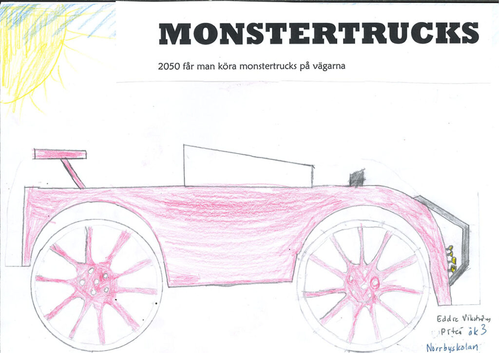 En teckning av en monstertruck.