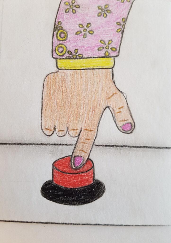 En teckning föreställande en hand som trycker på en röd knapp.
