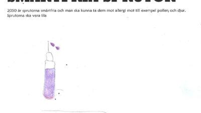 En teckning föreställande en smärtfri spruta.