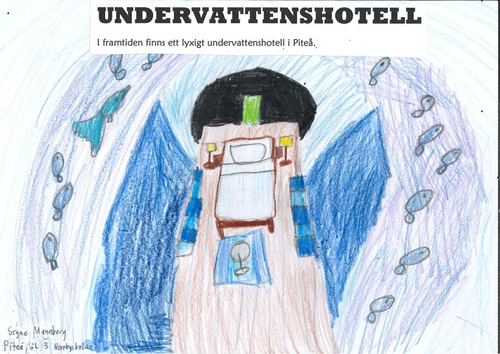 Teckning av Piteås undervattenshotell