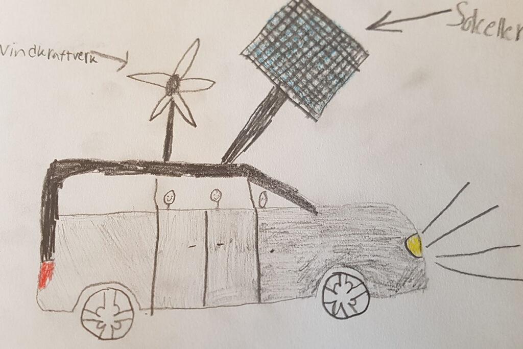 Teckning föreställande en bil med både solceller och ett litet vindkraftverk.