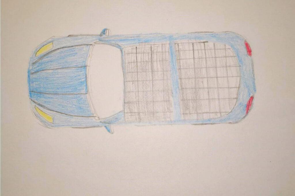 Willes teckning av framtidens bil i Piteå som har solceller på taket.