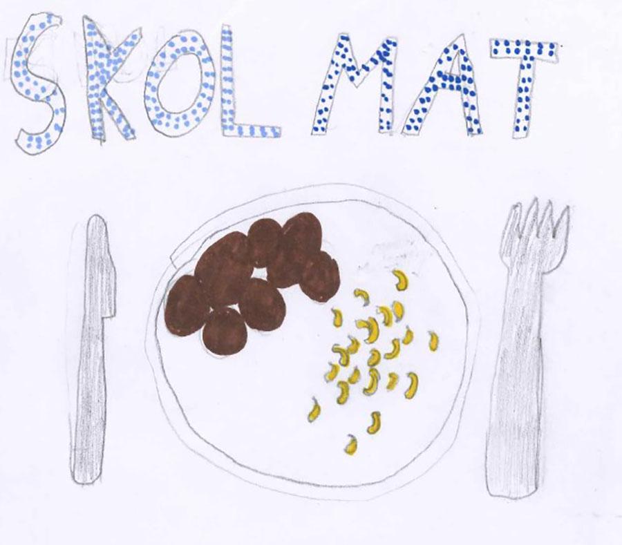 Teckning på en tallrik med mat på.