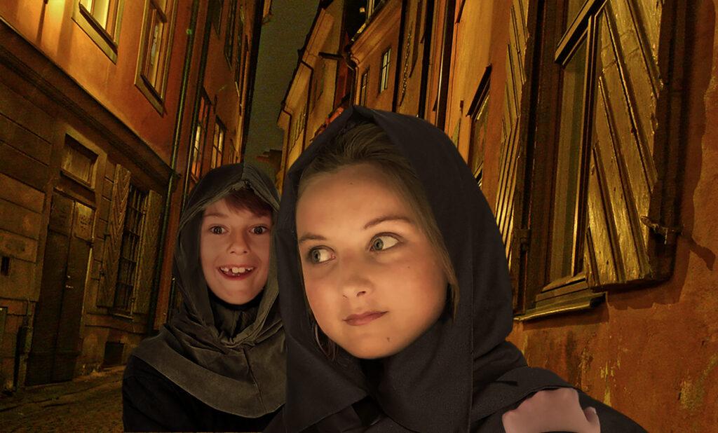 Syskonen Malva och Astor berättar gamla stans historia.