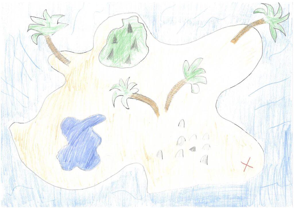 En teckning av en ö med några träd, berg och en sjö på.